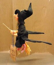 "1996 Vintage Halloween Annalee Felt Doll 10""  Flying Witch Mobile FANTASTIC!"