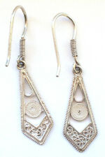 925 Sterling Silver 1950s 1960s Style Ear Rings Dangling Drop Hook Filigree