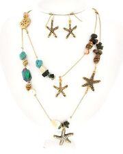 TRUE Gold STARFISH & SEASHELL Beaded Coastal Necklace & Earrings Set NWT New