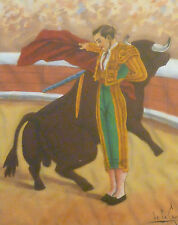 Unusual Mid-Century Canvas & Felt Matador Painting, Signed de la Campa