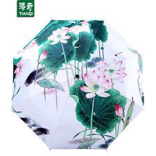 Free Lotus Pond Ink paintings Anti-uv Portable Three Folding rain Snow Umbrella