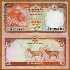 Nepal, 20 Rupees, 2016, P-New, UNC   Everest, Swamp Deers