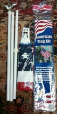 6' WHITE POLE KIT WITH EAGLE AMERICAN FLAG KIT WITH 3X5 USA POLYESTER FLAG