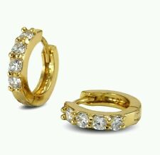 9ct 9Carat NewYellow Gold Diamond Small Hoop Earrings mens/ladies/xmas/unisex