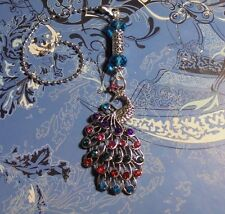 Peacock Rhinestone & Crystal~Ceiling Fan Pull~Hook on Chain/Lamps/Auto**~Silver