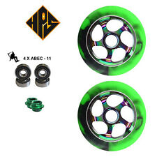2 PRO STUNT SCOOTER NEO CHROME GREEN METAL CORE WHEELS 110mm 88A ABEC 11 BEARING