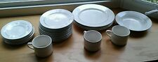 Totally Today China 20 Pc Plates, Bowl, Saucers, Cups Bone White Platinum Rings