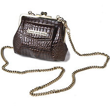 Designer Crocodile Skin Large Clasp Purse Small Shoulder Bag Coin Leather Vintag