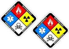 "2 - 3"" x 3"" HAZMAT  sign decal warning bio hazard sticker SET firefighter hazard"