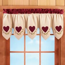 Burgundy Country Heart Primitive Scalloped Kitchen Bath Window Valance Curtain