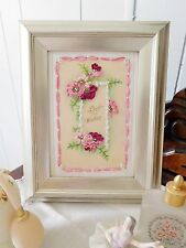 "Silk Ribbon Embroidery Original Design Kit ""Best Wishes"" 4x6 Pink Red Roses EASY"
