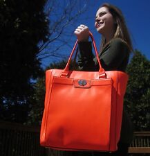 Kate Spade NY Hampton Road Davis Large SMOOTH Leather NEON CORAL Tote $498.00
