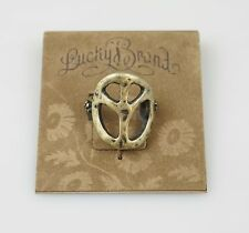 Lucky Brand Antique Gold Tone Peace Sign Boho Vintage Ring,Size 7 NWT