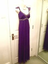 Monsoon Purple Pure Silk Empire Line Grecian Maxi Evening Dress Size 14 Ex Cond