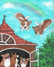 5x7 PRINT OF PAINTING RYTA FAMILY  PEMBROKE WELSH CORGI RAINBOW ANGEL PET ART