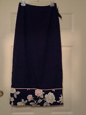 New W/Tag AGB Byer California Long Skirt Sz Small Black/Flowers Polyester B/Slit