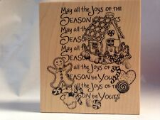 PSX K-3115 Gingerbread House Man Christmas Joy Montage Collection Rubber Stamp