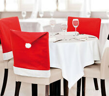 Cozy Santa Clause Red Hat Chair Back Cover Christmas Dinner Table Party Decor