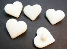 5 Vintage Czech BIG 1.8cm White Glass Heart Buttons