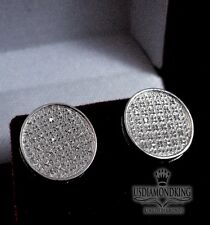 REAL GENUINE DIAMONDS MENS WOMENS STUD CIRCLE DOME EARRINGS STERLING SILVER PAVE