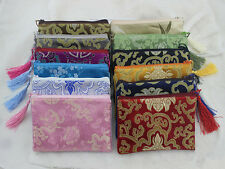 Wholesale10pcs silk  zipper brocade zero wallet silk Jewelry bags Pouch