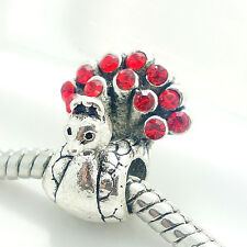New 3pcs red peacock big hole Beads Fit European Charm Bracelet jewelry ST606