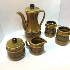 1970/s Tea Set Consumers Distributing Cream Sugar 2 Cups Vintage Green