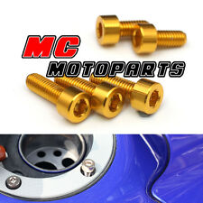 Gold CNC Petrol Fuel Cap Bolts Screws Kawasaki ZX 9R 2000-2003 00 01 02 03
