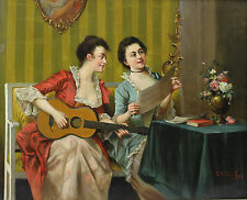 """Shaefer, S R (Continental 19th / 20th C.) Oil Painting """"Musical duet"""" classical"""
