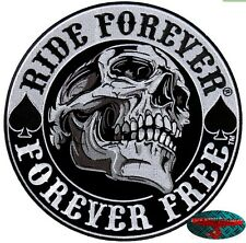 RIDE Forever SKULL BACK PATCH grandi ricamate aufbügler Biker Chopper patch Harley