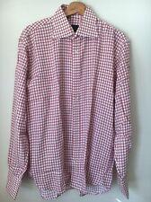 """Cravatt & Camicia Size 16"""" Rust White Check Shirt  T7218"""
