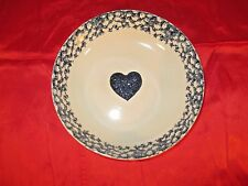 Tienshan Folk Craft BLUE HEART Sponge Round Serving Bowl 9 in