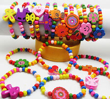 10pcs Mixed Wholesale Kids Children Wood Elastic Bead Bracelets Colorful Jewelry
