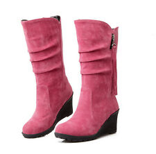 Fashion Women's Ladies High Heel Shoes Winter Mid Calf Wedge Boots Casual Shoes