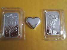 3 x 1 oz  .999 Fine love  Silver heart bullion  Bars