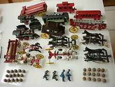 Vintage Cast Iron Toys - Train Trolley Horses People Cargo Fire Truck
