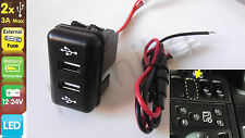 12V/24V IN DASH Dual USB Port Charger Power Outlet for VOLVO FH12 FH Blue LED