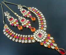 ORANGE PINK KUNDAN GOLD TONE NECKLACE EARRING SET BOLLYWOOD BRIDAL PARTY JEWELRY