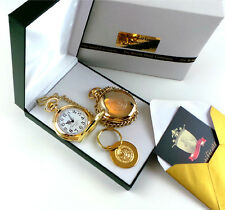 USA ARMY Hunter 24k Gold Clad Military POCKET WATCH Chain Keyring Luxury Gift