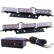 18 LED Emergency Vehicle Strobe Light Kit for Front/Rear Grille/Deck-Amber/White