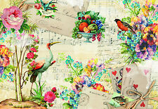 MEMORIES Photo Wallpaper Wall Mural BIRDS FLOWERS NOTES  Madei in Germany!