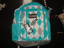 New Trans by JanSport MegaHertz Backpack Bag Teal/Grey/White Argyle Plaid NWT