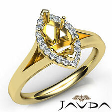 Marquise Diamond Semi Mount Engagement 18k Yellow Gold Pave Setting Ring 0.2Ct