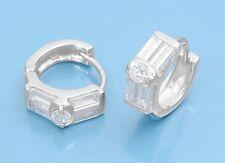 Huggie Hoop Earrings with Baguette Cubic Zirconia Sterling Silver 925 Jewelry