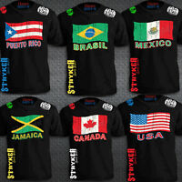 Country Flag Crest T-Shirt Top World Cup Soccer Football MMA UFC W a FREE Tapout