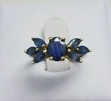 Stunning 2.5 Carat Natural Blue Sapphire Ring Set In 10k Yellow Gold Size 5.25