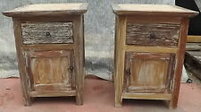 Bedside table in teak solid wood recycled cm45x42x60h white pickled finish room