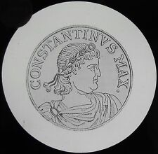 Glass Magic Lantern Slide CONSTANTINE ROMAN COIN C1890 DRAWING