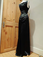 JUST CAVALLI BLACK SATIN LONG EVENING DRESS WITH TRAIN SZ IT 42 UK 8 10