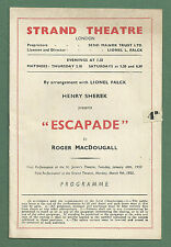 "1953 STRAND THEATRE PROGRAMME ""ESCAPADE"" - NIGEL PATRICK, HUGH GRIFFITH ETC"